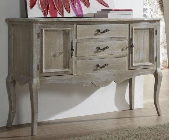 Buffet madera decapado blanco blog de artesania y decoracion for Muebles blancos y madera