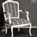 Sillon blanco tapizado rayas negras