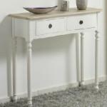 Consola entrada, mueble bicolor, recibidor de entrada, consola 2 cajones blanca