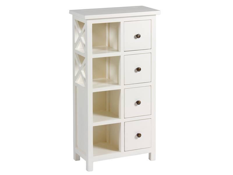 Mueble auxiliar blanco 4 estantes 4 cajones deosa blog for Muebles bano rusticos ikea