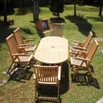 Juego de 6 sillones y mesa teca