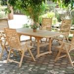 Conjunto mesa y 6 sillones teca