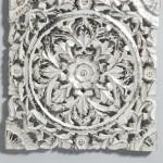 Juego 2 Paneles Tallados Blanco Plata 40 X 40