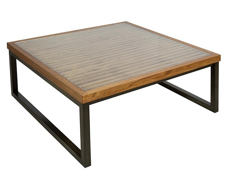 Mesa baja de centro moderna madera forja