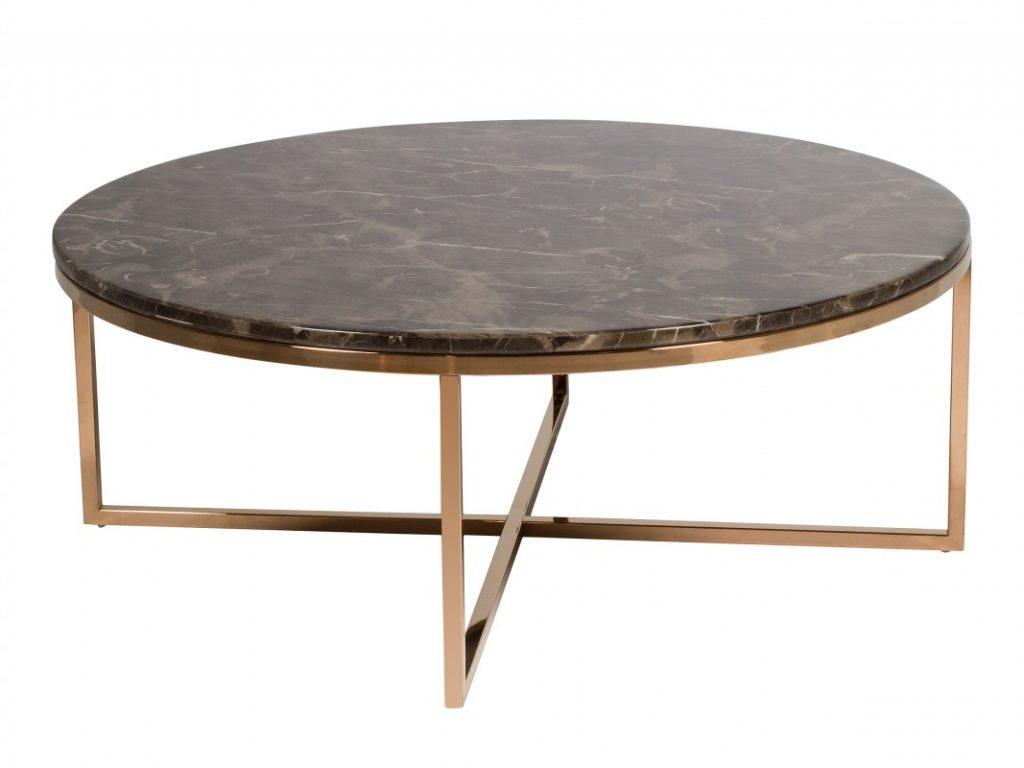 Mesa redonda moderna acero oro y marmol