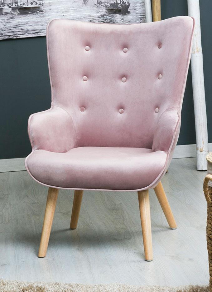 Sillon moderno tapizado terciopelo rosa palido