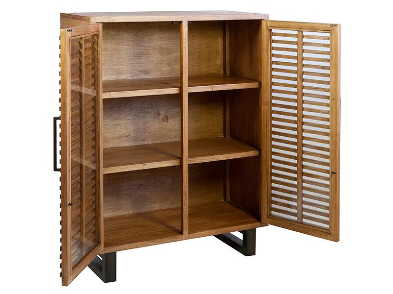Vitrina salon moderna forja y madera