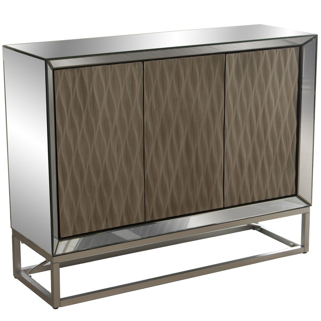 Aparador buffet 3 puertas cristal madera estilo moderno