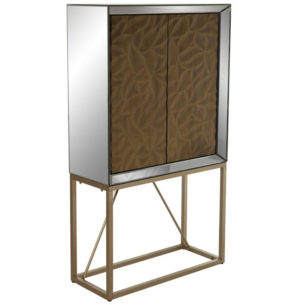 Vitrina armario salon cristal madera oro moderna