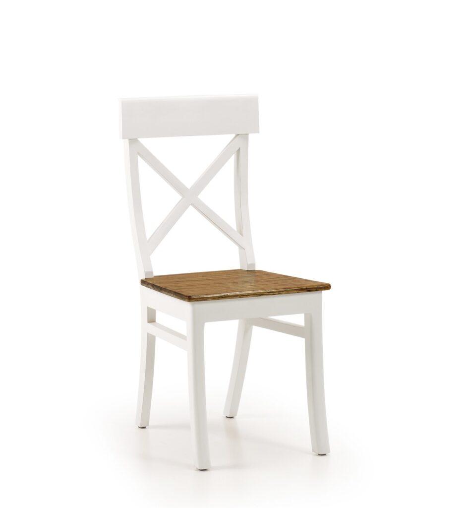 Silla colonial blanca asiento madera