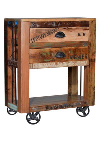 Mesa auxiliar industrial ruedas madera reciclada