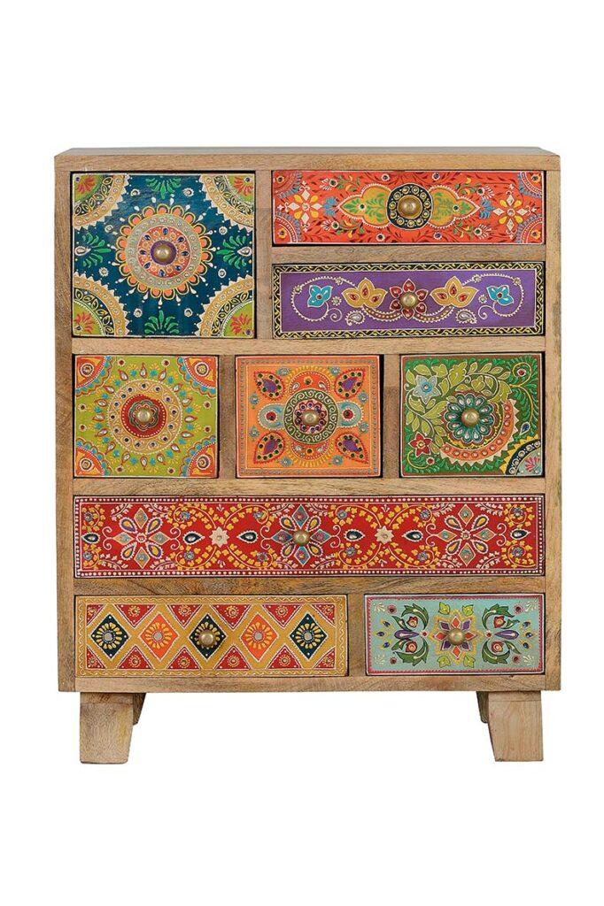 Mesita 9 cajones de colores oriental