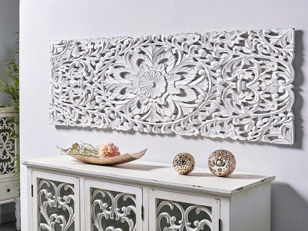 Panel tallado decoracion salon mandala blanco