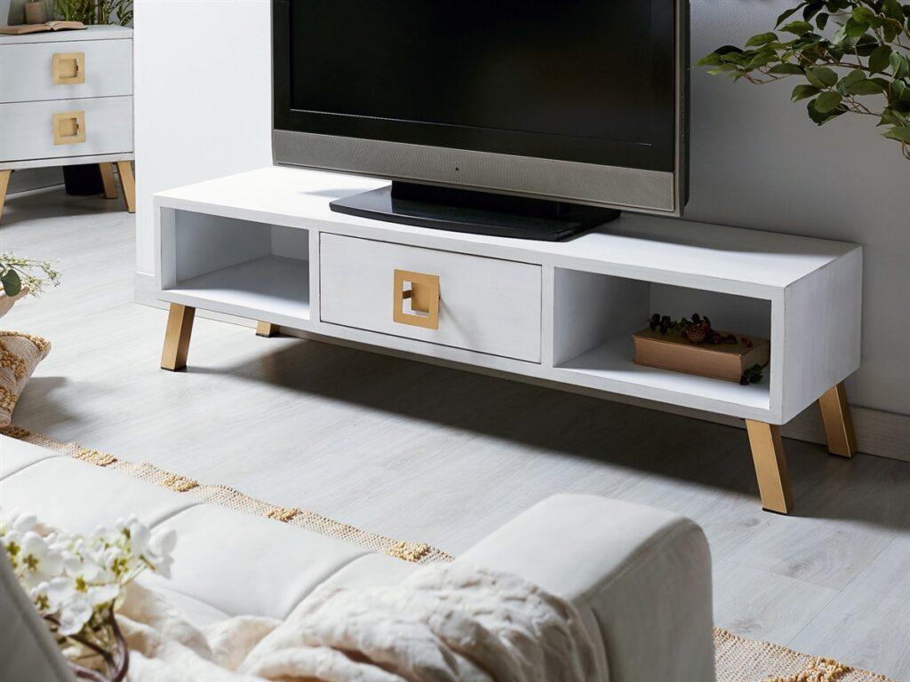Mueble TV bajo oriental blanco oro