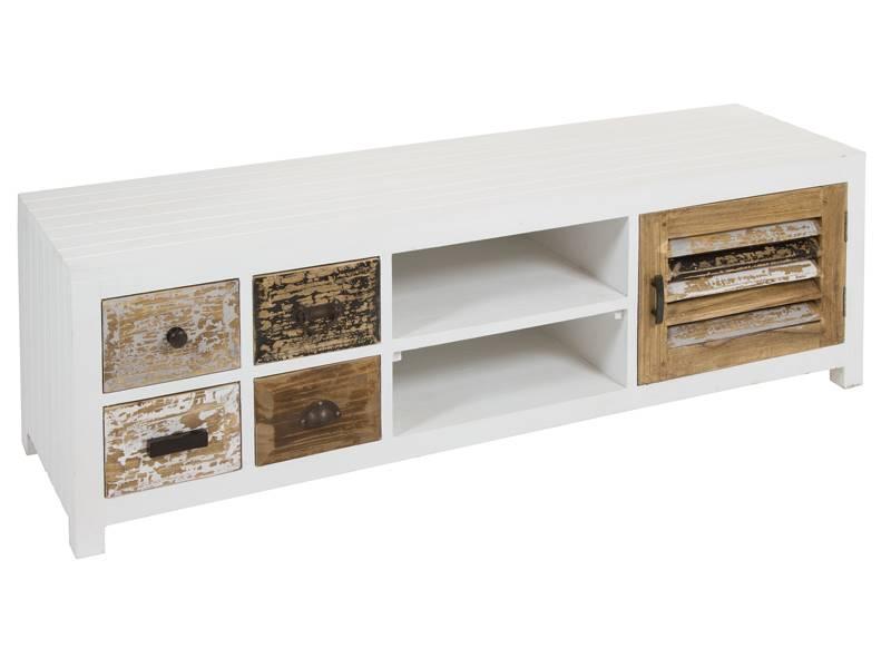Mueble bajo TV cajones decapados en colores