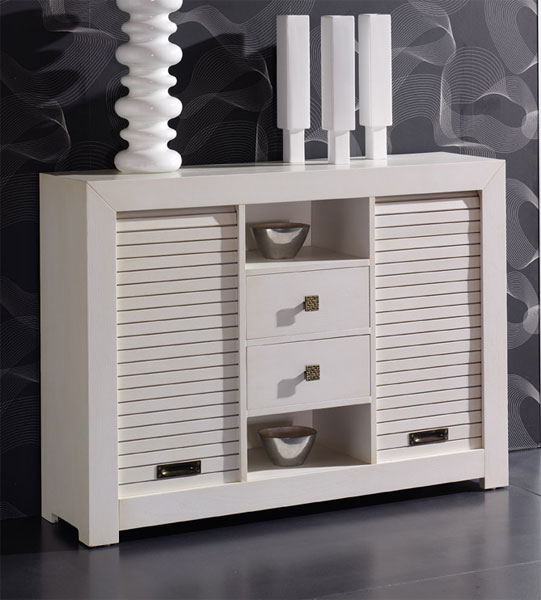 Mueble recibidor 2 cajones y persiana blanco
