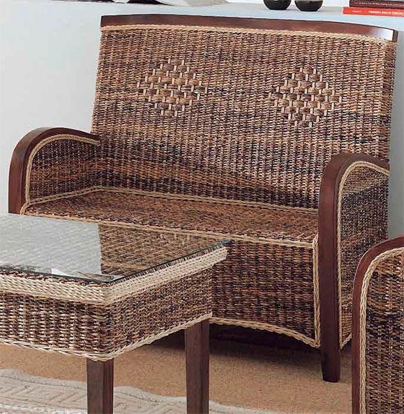 Sofa rattan madera y abaca 3 plazas