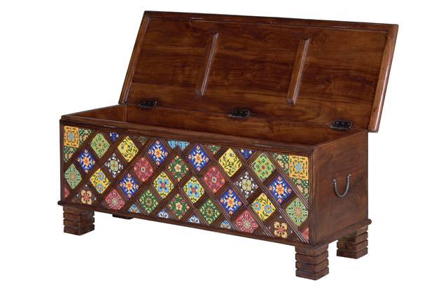 Baul madera ceramica decoracion colores