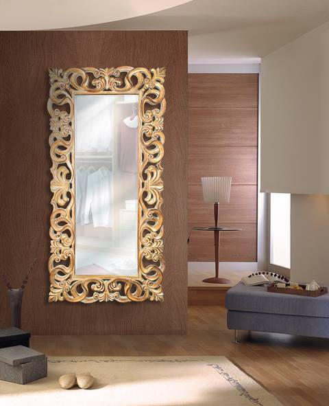 Espejo clasico dorado alto recibidor
