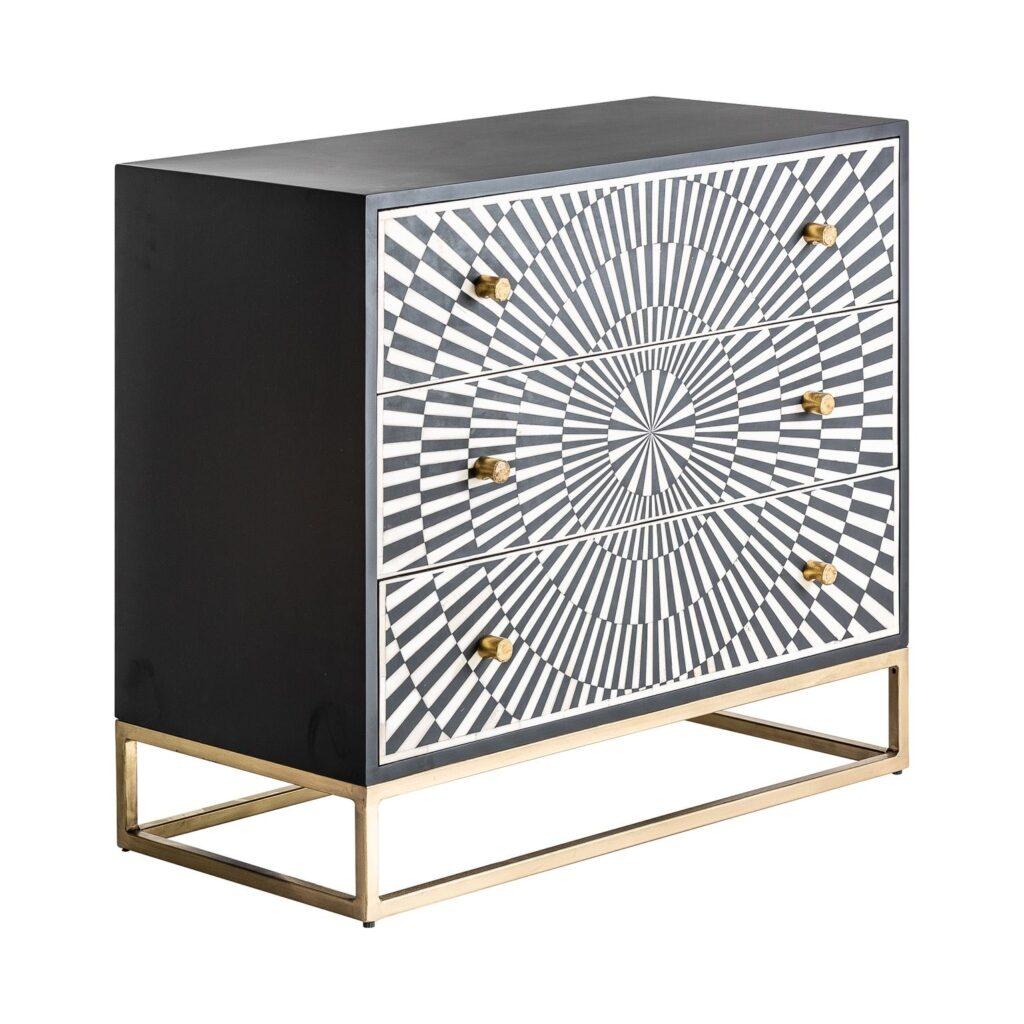 Comoda diseño 3 cajones madera metal