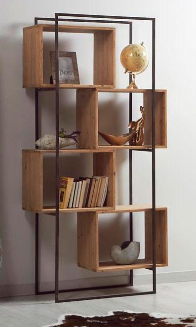 Libreria salon madera acero industrial