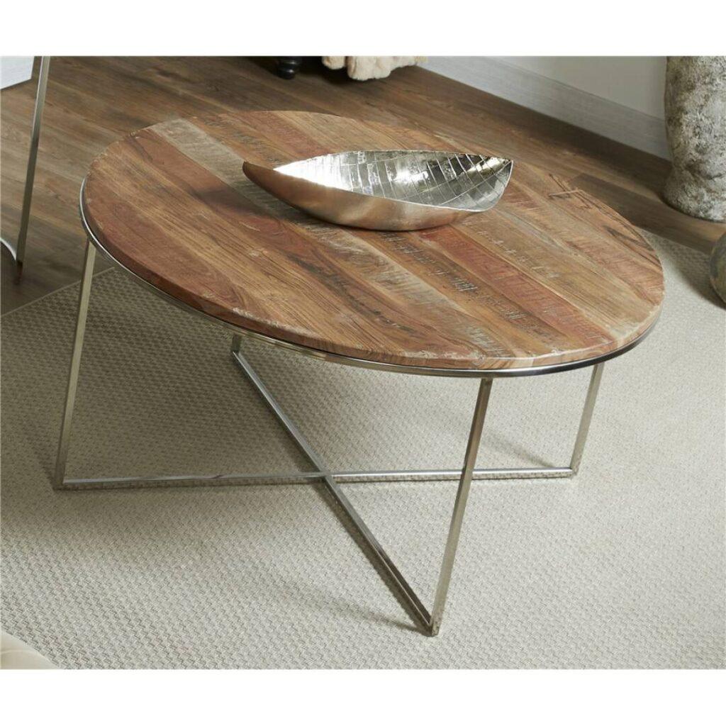 Mesa de centro redonda actual madera a
