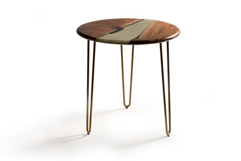 Mesa redonda auxiliar madera resina