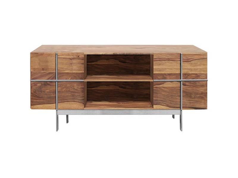 Mueble bajo TV madera maciza y acero