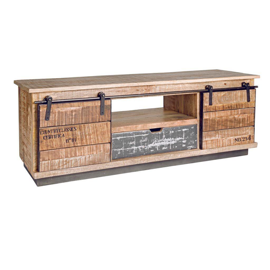 Mueble tv industrial rustico 2 puertas correderas