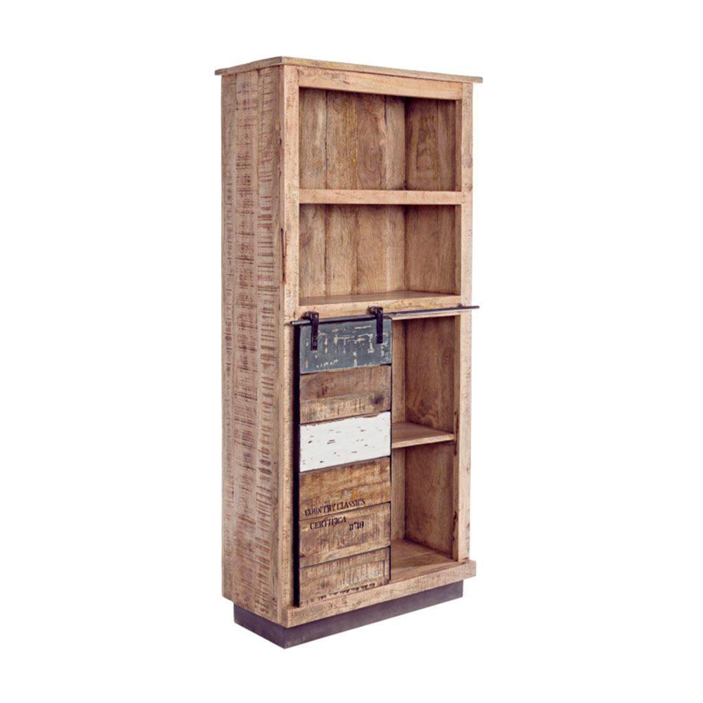 Libreria industrial forja madera