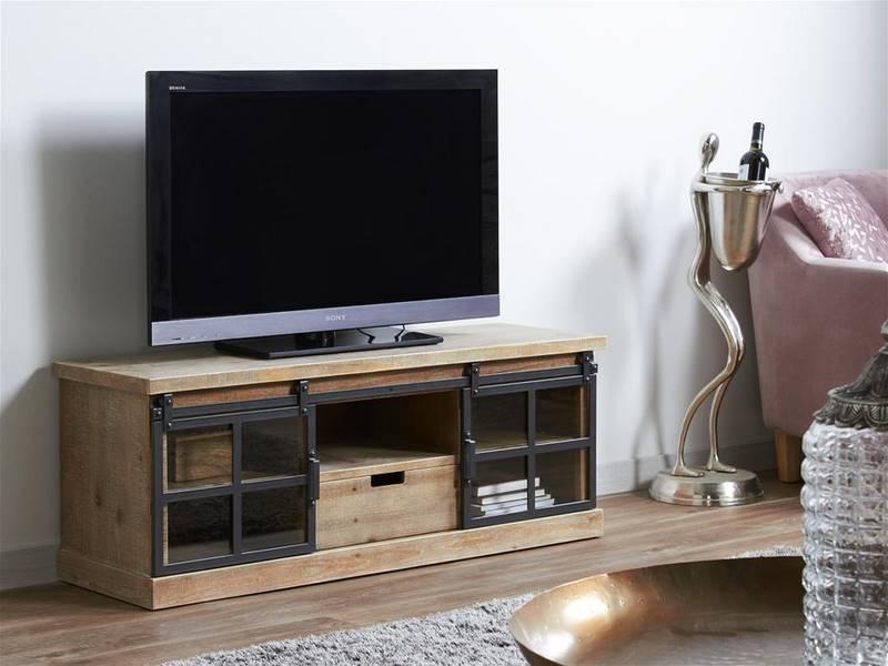 Mueble tv rustico industrial acero madera
