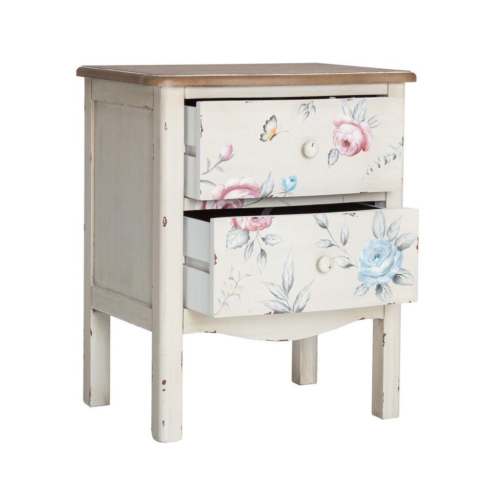 Mesita dormitorio decoracion floral blanca decape