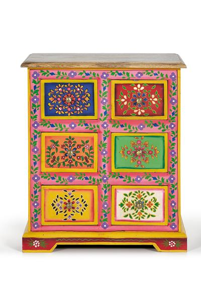 Mesita noche 6 cajones decorada en colores